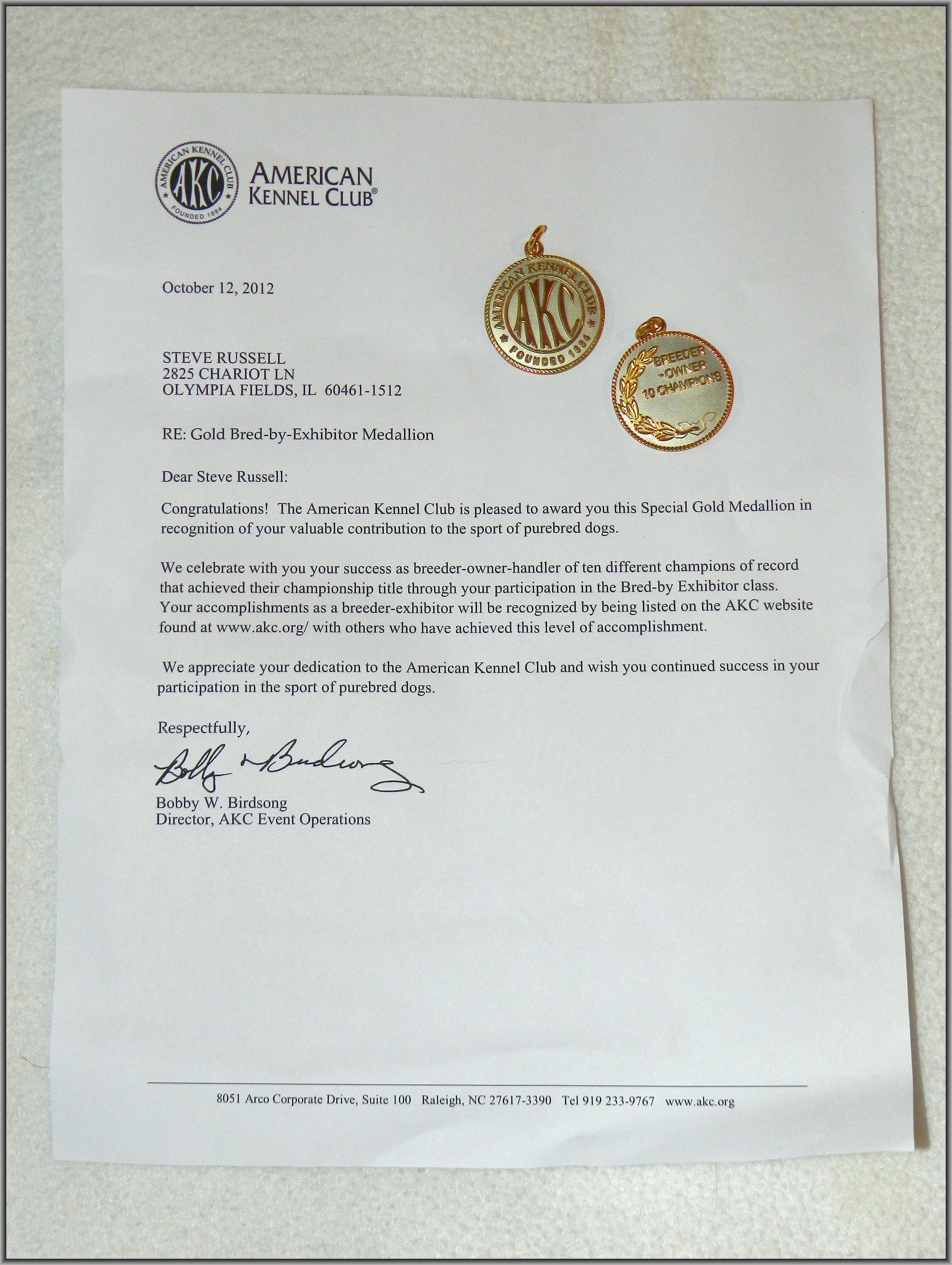 AKC Gold BBE Letter and Medals
